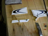 """Name: DSCN3605.jpg Views: 41 Size: 119.9 KB Description: old v-tail sliced apart, continued along the """"pre cut"""" line along the whole length of the new rudder....."""