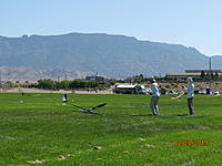 Name: IMG_3442.JPG Views: 22 Size: 3.24 MB Description: Ed and Randy again, demonstrating landing points in good form.  Those magnificent Sandia Peaks in the background reach to 10K above sea level.