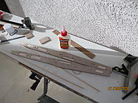 Name: IMG_3756.JPG Views: 74 Size: 3.08 MB Description: Here are the sides after the glue cures.  Pretty straight, and the plywood is an excellent match to the balsa in outline.  Please note a right side and a left side!