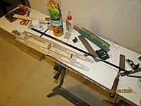 Name: IMG_3761.JPG Views: 102 Size: 2.54 MB Description: And...  Here is what we've done today, in roughly 90 minutes:  boom the correct length; formers, nose block and longerons on the fuselage base; sides ready to be glued on.