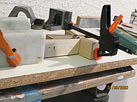 Name: IMG_3768.JPG Views: 70 Size: 2.41 MB Description: You can see here that the side does not quite sit flat on the table, like the base.  Oh, well.  There is a lot of variation in wood thickness, and I'm not worried.  The formers on the base keep the boom properly aligned, and we will be happy.