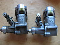 Name: IMG_5757.jpg Views: 61 Size: 56.2 KB Description: Pair of enya 19's.  engine on right is new looking, one on left is used. left side