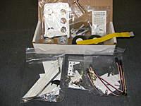 Name: DSCF0012.jpg Views: 200 Size: 90.3 KB Description: Stock hardware kit. note servo extensions, PVC parts and Aluminum strut parts.