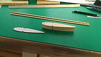 Name: IMAG2848.jpg Views: 13 Size: 1.02 MB Description: With the plotted airfoil a ply master rib was made and the balsa ribs cut.
