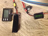 """Name: Falcon 018.jpg Views: 52 Size: 245.4 KB Description: Breaking in a """"grayson Hobby"""" 4s. Wattmeter/Ammeter attached, as well as voltage meter. Wear it down to 3.7 per cell at no greater than 2a, for4 to 5 cycles"""