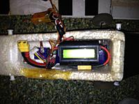 Name: Falcon 019.jpg Views: 65 Size: 133.6 KB Description: Wattmeter installed for in flight tests. It sets just fine on top of my battery