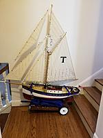 Name: PC Pilot Cutter Tatty-byes.jpg Views: 23 Size: 3.50 MB Description: This is my last big build with the muslin sails.  This is Pilot Cutter, Tatty-byes, all 30 pounds of her.  I'm hoping that the water shield on her sails will keep them looking nice.  She has over 17 pounds of lead in her keel.