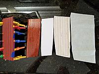 Name: BC Upholstery 3.jpg Views: 15 Size: 3.64 MB Description: Here are all of the pieces that make up the upholstery.  The wood base, a paper template, the backing fabric (with the seam lines drawn), and the red faux leather upholstery (back side facing camera).