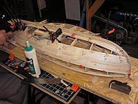 Name: Plank a Thon Boat B.jpg Views: 223 Size: 294.6 KB Description: With all the T-Pins used today, the boat looked more like a porcupine than anything else.  Every little clamp we owned was put into service.