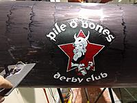 Name: derby logo.jpg Views: 27 Size: 742.7 KB Description: Derby logo printed to white tissue, highlighted with sharpie and lightly attached with spray contact adhesive.  It did the job