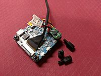 Name: IMG_20180824_220407.jpg Views: 11 Size: 1.16 MB Description: This is the camera board.  It needs 5v to operate.  A small 5v boost regulator provides this.  The board wiring has been slightly modified for this setup.  Board is attached to mount with plastic stand off nuts