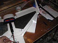Name: IMG_1097.jpg Views: 44 Size: 181.7 KB Description: A slit cut in the wing for wiring, and the LED's fit snugly in slots cut in the leading edge for visibility above and below the aircraft.