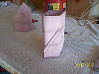 Name: 100_1770.jpg Views: 74 Size: 283.4 KB Description: Stacked and glued, then sanded the joint smooth. I then traced  the splitter from the full size print and begun the sanding work.