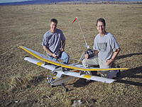 """Name: DSC_0128.jpg Views: 125 Size: 253.5 KB Description: This old Telemaster has a Como (Supertigre) .75 on it, That's Wayne's 120"""" Bird of Time, Makes that 8' span on the Telemaster look small"""