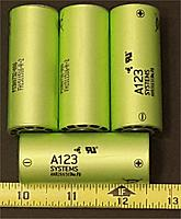 """Name: a123 LIFE batteries 1inch diameter pack 12v 12oz 10000cycles.jpg Views: 52 Size: 314.3 KB Description: $10 each cell and they don't """"puff"""" like lipos, last much much longer, stronger, but only about 2 amp hours, no need for storage charge, put away empty or full, won't hurt them"""