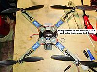 Name: 11_cable_ties_on.jpg Views: 56 Size: 397.3 KB Description: All arms attached, ESCs and motor leads cable tied to top of arms, and 11 x 4.7 CF props added