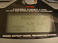 Name: CIMG0619.jpg Views: 112 Size: 42.8 KB Description: FLAPS programming for Spoilerons. This requires dual ailerons (one aileron on AILE and the other on AUX1. The FLAPS switch on the TX controls the spoileron effect.
