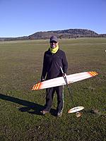 Name: IMG-20130623-00225.jpg Views: 142 Size: 224.1 KB Description: Hugh with his Salpeter. He also flies the XXL, Concept CX3 and Stobel V3.