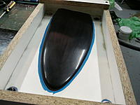 Name: Photo2248.jpg Views: 76 Size: 135.9 KB Description: Plug back in place. This is only the mould for the nose cone, so I have to create a putty stop end. The plug still needs a final coat of Frekote before casting and clean up.