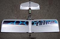 Name: Ember Canard_top view_051312.jpg Views: 68 Size: 233.7 KB Description: Also flys with 180mah hyperion LiPo very nicely.  Can loop with steep dive first.