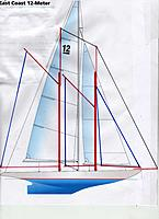 Name: Schooner Anna-first sailplan idea..jpg Views: 20 Size: 947.2 KB Description: this would be around 1275 sq. in.--about what a EC-12 hull carries as a class boat.Marconi version about 1033 sq. in. fore topsail about 100 sq. in. outer jib another 250 sq. in.