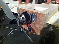 """Name: IMG_3568.jpg Views: 155 Size: 257.5 KB Description: Motor attached to plane with bits of old alloy I had lying around - prop has around 3"""" ground clearence"""