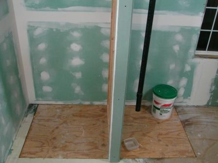 Name: 1-8-11-2.jpg Views: 267 Size: 27.7 KB Description: Now to move the drain pipe into the wall and bring the shower stall in.
