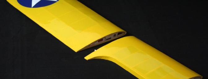 View of the top wing panels showing the nice finish.  Aren't all airplane wings supposed to be yellow?