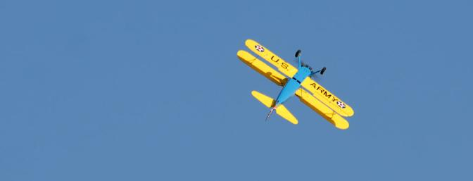 A Stearman doing a big lazy barrel roll?  Oh yeah!  That's what it does best.