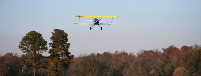 The Stearman just looks like it means business as it is coming down final approach.