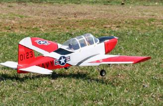 Here's a more gradual takeoff using flaps.  The T-34 handles rough grass very well with all that extra power.