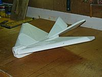 """Name: UnNamed 3.jpg Views: 86 Size: 103.5 KB Description: Reinforcing tape and skid on the bottom.  Airframe wt 80g  Wing Area 1.333sq ft CG 6.5"""" Tomorrow mout the gear... ;o)"""
