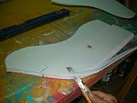 Name: Gull Wing (25).jpg Views: 145 Size: 105.8 KB Description: From the leading edge at the chord and around the leading edge cut a 45 degree bevel into the top layer for both panels.