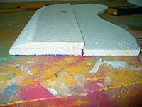 Name: Gull Wing (28).jpg Views: 145 Size: 114.7 KB Description: This view of the root end of the right panel gives you an idea of the kind of airfoil shape that results.  I leave the trailing edge flat. but you can taper if if you wish.