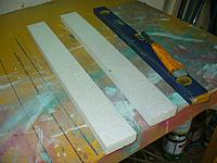 """Name: GTF (20).jpg Views: 121 Size: 118.8 KB Description: First I cut two strips of 1"""" foam 2.5""""wide.  My foam is 24"""" wide so I have a little more than I need."""