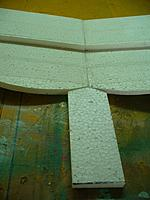 """Name: GTF (31).jpg Views: 95 Size: 126.9 KB Description: Cut a piece of 1/2"""" foam 2.5"""" wide and about 6 inches long.  Cut the front of this piece to fit the center of the trailing edge of the wing."""