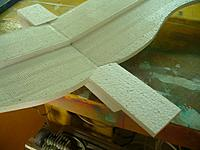 """Name: GTF (32).jpg Views: 105 Size: 135.3 KB Description: With the wing in place glue the 2.5"""" piece to the back of the fuselage. as shown and trim the rear angle to match the 45 degree slope of the back of the fuselage."""
