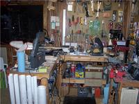 Name: S 1.jpg Views: 621 Size: 76.8 KB Description: 2 main power tool benches hold the band and scroll saws, lathe, sander and drill press - plus a ton of stuff underneath