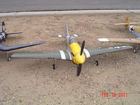 Name: Mustang.jpg Views: 139 Size: 126.7 KB Description: Stock prop, just got this Wednesday, maiden'd it today!  Another awesome plane.