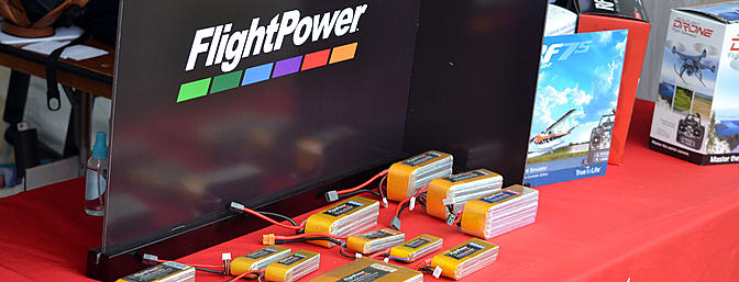 FlightPower lipo batteries in the Hobbico booth