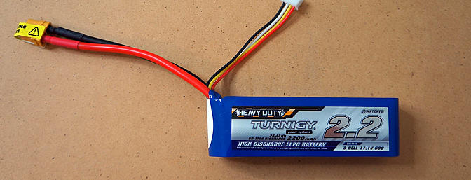 Turnigy 3S 2200mAH Lipos were also sent to use for the review.