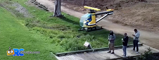 Giant Flying LEGO Helicopter - Video!