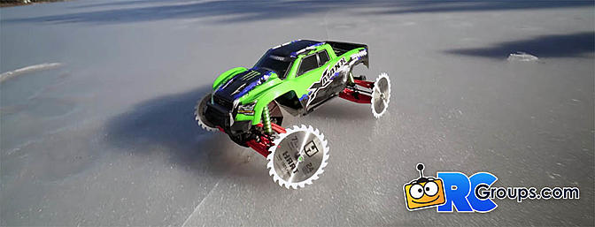 Traxxas Xmaxx 8S Saw Blade Wheels on Frozen Lake