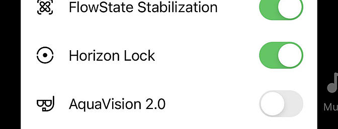 Options to turn off Stabilization and Horizon Lock. These are non-destructive settings and can be toggled on or off at any time.