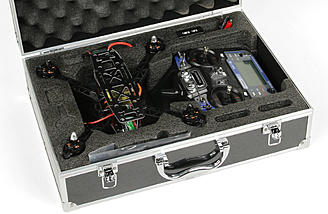 FPV Drone case holds the transmitter and quad