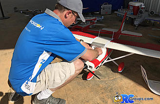 Matt preparing the Cessna for a flight on the electric line