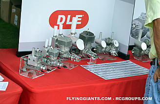 DLE engines line up on display in the Hobbico booth
