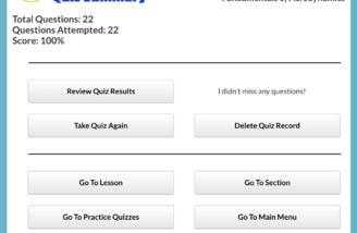 Quiz Summary Screen