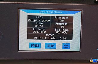 Printing status screen
