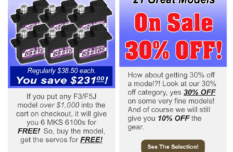 Free Servos on F3/F5J over $1000 and 30% off Select Planes